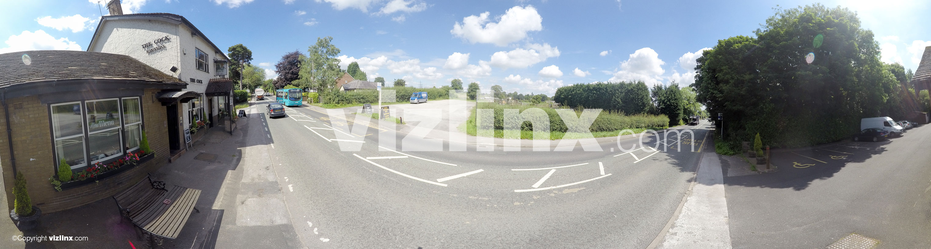 360 panorama of The Cock Inn Henbury